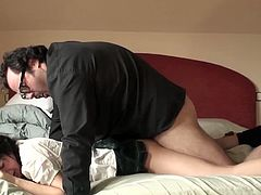 Padre Damian is an ugly, perverted priest. He forces a young girl to take his cock in her throat, cunt and butt hole. He also finishes in her mouth, grossing her out.