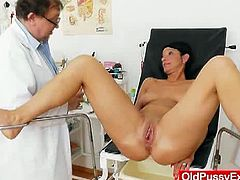 Radana is a busty mom from Europe. She is still in shape, but her cunt needed an exam. Her gynecologist checked her out and offered her a vibrator as well.
