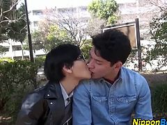 These two twinks are lovers. They kiss while sitting on a bench in the park. When they arrive home, they take a shower and suck each others throbbing cocks.