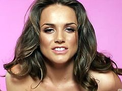 Emily Addison is a young and sexy woman, and in this video she is in a pink bra and panties, with a sexy bow across her breasts. She unwraps the bow and slowly shows us her hot body. She is very busty and has long legs to along with a top class body. Emily sites back on the sofa with her legs open and slides a finger or two in her shaved pussy and gets her pussy nice and wet. As she fingers and rubs her clit, the juices are flowing slowly and before long gets very wet from her play. She bends over and then turns over again to finish with an orgasmic climax that needs to be seen.