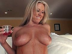 Bosomy blond haired mommy perform steamy fetish blowjob to her guy