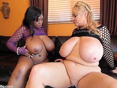Samantha invited her BBW ebony fuck buddy to have fun in their house and they wear a sexy clothes and reveal their massive titties free for nip sucking and their fat cunts for eating.