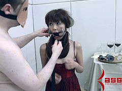 Cute dame in bondage getting her hair pulled as her pussy is banged hardcore