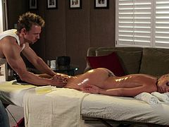 Jesse Jane in bra and panties gets massaged,oiled and fucked Hardcore