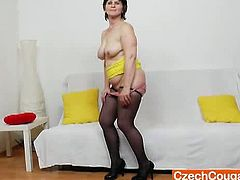 MILF doll Slavomira teases first as she let her chubby figure seen naked and she spreads her juicy cunt waiting for her big dildo for a sweet pussy drilling