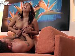 Vicky get fucked up her tight cunt while she sucks on Viola´s long strap-on.
