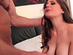 Glamorous brunette Allison Moore loves her boyfriend so much that she wanted to please him with a hot steamy blowjob and a good unforgettable fuck in the morning