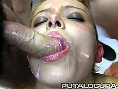 Horny Latina Teen likes it hard and big! She huffs, puffs and blows and gets prized with a grand bukkake!!
