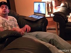 Straight guy chilling out in his couch and feeling his bulge as he is watching a straight porn when suddenly a stud caught him and suggesting to help him suck his cock.