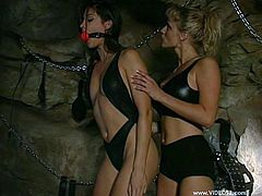 Marvelous lesbian with long hair getting her shaved pussy licked before enjoying being feasted hardcore using strapon outdoor