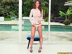 The sexy babe Molly is looking super hot in her white fishnet top, and she wants to open up her legs, so you can see her cunt, and watch her masturbate. She flashes her pussy and gets to work. Look, how amazing she is in heels.