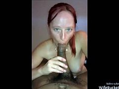Amateur video of a reality with a horny redhead mature wife sucking and fucking a big black dick. They film them because the wife told him to do so and would love to see herself online.