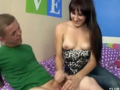 Vanessa has a blind date with a midget. When she sees him, she is curious if he has a small cock too. He shows it to her and she strokes it to make it hard.