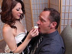 Swinging couple takes advantage of super hot teen maid who's wearing a very sexy uniform. Watch as these three engage in hot hardcore sex and oral pleasure. It's a must see!