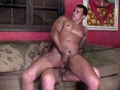 This blonde shemale gets his cock sucked and then busts this gay boy in the ass in this free tube movie.