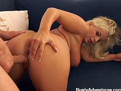 Blonde with Big Tits removes her Bra then Masturbates nicely inserting Toy in her shaved pussy gives Blowjob and her Anal nailed Doggystyle