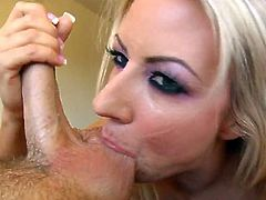 This is a nasty POV blowjob scene with a hot pussy sucking a hot stud's big cock hardcore with a hot cumshot load in the mouth.