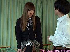 Ayumu Sena is a naughty schoolgirl from Japan who tastes spunk out of her hairy pussy after a guy fucks her and dumps his load inside her. She is a slutty one.