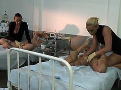Blonde Mandy Bright with gigantic jugs plays with Kathia Nobilis jugs before she rubs her muff