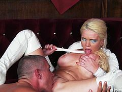 Horny blonde with long hair getting her pussy licked before moaning while being penetrated hardcore doggystyle in a pov shoot