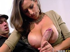 This sexy milf is sick and tired of her husband ignoring her. The husband is too busy, paying attention to the sexy young maid, but the milf has an idea, to satisfy her lust. She sucks off her stepson, right behind her husband's back.