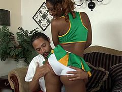 Chanell always gets, what she wants! The attractive cheerleader looks very sensual, dressed with that short skirt, under which you can see her white panties. Her buttocks seem very appetizing. With soft kisses and gentle caresses the sexy slut makes her partner's cock get hard and horny. Watch the details!