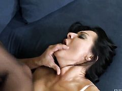 Sandra Romain asks Christoph Clark to shove his hard meat pole in her mouth after she gets assfucked
