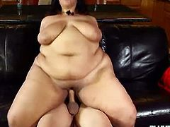 Huge titted BBW is so sweet with her latino partner and they take a selfie together before they start their sex thing as she start sucking his big dick and got her fat pussy fucked hard in the couch.