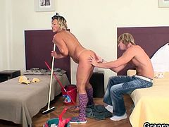 Young guy is desperate for some pussyhole and this mature babe got in the right place in the right time as she got exploited by groping her old goodies and fucking her hungry pussy.