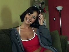Very sexy pornstar Crissy Moran gets naked and fingers her pussy