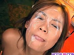 This JAV Idol Rui Horie is known for cumshot themed videos and this was no exception as she got gangbanged by a lot of horny guys as they was toying her hairy pussy before being drenched in cum.
