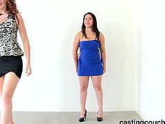 This busty brunette is a Latina who auditions with a natural redheaded babe and a well-hung black dude. She takes his dick from behind and his jizz in her mouth.