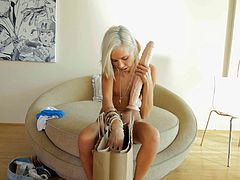 Kacey stretches her tight pussy out with a massive dildo. Now, that her pussy is nice and loose, her man sticks his big cock in her pussy hole. She sucks on his big dick, too. Will she make him shoot his cum in her mouth?