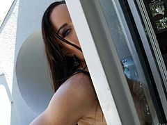 Are you fanatic about milfs? Slutty Diamond is an attractive milf, who generously exposes her wonderful tits. The brunette has long red nails and looks very seductive, dressed in a sexy lingerie, which puts in evidence her crazy ass. See the bitch squeezing those big tits behind the glass door. Enjoy the details!