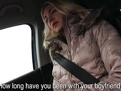 Nasty blonde teen girl Victoria Puppy screwed up in the car
