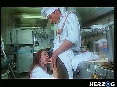 The chef is ready to make some food for his owner, but in between that, he fucks a lady, who is also working with him. The lady is so beautiful and gorgeous, that makes the chef dick so hard and he has no option, but to fuck her.