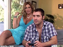 Horny stepmom distracts her daughter's husband and successfully seduced her by sucking his big dick and riding on it until they caught off guard. Fortunately for them, the wife loves it and watches them on the side, naked.