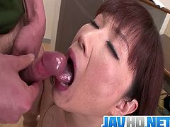 Checkout this mature and horny busty Japanese Teacher sucking three horny cocks. Watch how she strips her clothes and fingers her mature pussy before sucking these three horny cocks dry.