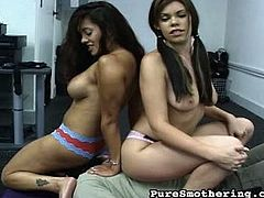 Sexy smother vixens trap their victim in the gym