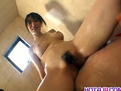 Akari Hoshino is Japanese, a mom and a slut. She plays with a guy's cock using her big boobs, her mouth and of course, her hairy cunt. He lays back and enjoys.