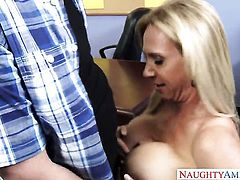Brooke Tyler with giant breasts and hairless muff is on fire in sex action with hot guy Dane Cross