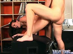 Brunette in miniskirt gets her pussy and mouth fucked deep