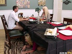 Let's hope the wife doesn't find out, that her husband is having sex with the young maid, that is staying with them. The maid sucks off this husband underneath and on top of the dinner table, while the hot blonde wife is sitting right there!