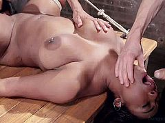 Dungeon Sex brings you very intense free porn video where you can see how this bound ebony slave gets banged from both ends in the dungeon while assuming hot positions.