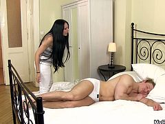 She knows that her boyfriend is gay and this is the last time they'll see each other and as for the parting gift she left this well hung stud who is sleeping for him to pleasure.