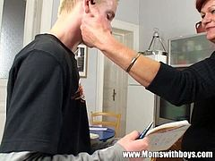 Moms With Boys brings you a hell of a free porn video where you can see how this redhead mature gets banged by a young stud while assuming very hot positions.