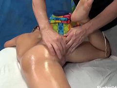 Sasha Hall is your pretty typical girl next door who loves being naughty at times. Here she got some relaxing massage and got her perky tits and her shaved cunt pleasured by the masseuse.