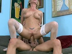 Fake-boobed blonde milf blows and gets her pussy fucked deep