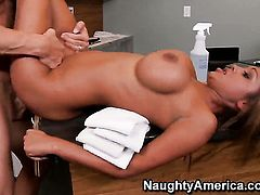 Johnny Sins is horny and cant wait no more to bang With big jugs and clean pussy