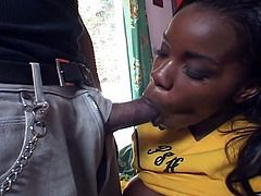 Sexy black cheerleader get her pussy drilled hard by massive dick.
